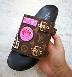 Wholesale top fashion sandals - TOP Brand Women Leather Letter Slippers Rubber Outsole Babouche Flamingo Chinela Perfect Flat Plain Sandal BoxedSize35-42