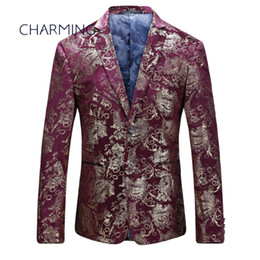 Wholesale High Quality Tuxedos - Suit jacket for men For actor singer suit jacket for men High-quality jacquard fabric pattern stamping process Burgundy mens suits