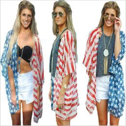 0bdd91e680d4c Blouses Femmes Drapeau Américain Cardigan Été Casual Chemises Independence  Day Dress Lâche Imprimer Tops Mode Blusas Vêtements Femmes B3999 drapeau ...