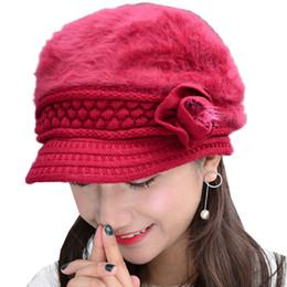 Wholesale Knit Visor Hat Women - Beret Women Rabbit Fur Warm Winter Cap With Visor Elegant Floral Ladies Knitted Berets Hats Fashion Fleece Hat Knit Beanies Caps