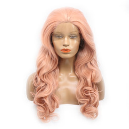 Wholesale Gold Lace Wig - Charming Rose Gold Body Wave Long Wig Synthetic Lace Front Wigs With Baby Hair 180% Density Heat Resistant Wigs For Black Women