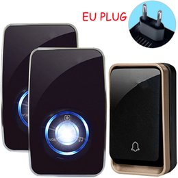 Wholesale wireless plug door bells - Self Powered Waterproof Wireless DoorBell night light sensor no battery EU plug smart Door Bell 1 2 button 1 2 Receiver