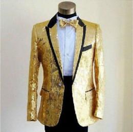 Wholesale Men Clothing Wedding - Fashion Mens Bling Sequins Tuxedo Suit Jacket Coat Wedding Party Clothing