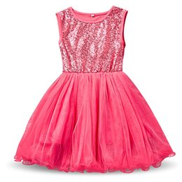 Bata lolita online-Summer Girl Sequins Robe Fille Enfant Niños trajes de cumpleaños Tulle niños Toddler Girl Clothes Baby Kids School Dress Vestidos