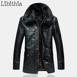 Wholesale Male Straight Jacket - Men PU Leather Casual Thick Fleece Jackets Fur Collar Coats Zipper Straight Long Clothes Male Large Size XL-4XL Black Brown K269