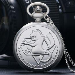 Wholesale Pocket Watch Silver Antique - Silver Full Metal Alchemist Dull Polish Pocket Watch Men's Quartz Watches Children Boy Best Gift Multiple Styles