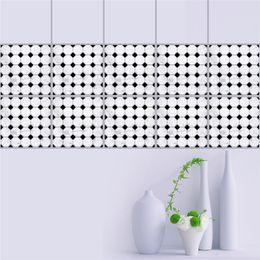 Murais de azulejos de banheiro on-line-20 * 20 cm preto branco mosaicos autoadesivo linha de cintura adesivo de parede piso de ladrilho do banheiro adesivos muraux decor autocollant mural
