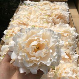Wholesale Black Peony Silk Flowers - artificial flowers Silk Peony Flower Heads Wedding Party Decoration supplies Simulation fake flower head home decorations wholesale 15cm