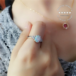 Wholesale micro pave zirconia - Light Blue Opal Oval Micro Mosaic Zircon Ladies s925 Silver Ring Lovers Gift Size 6-10