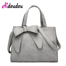 Wholesale Large Gray Leather Handbag - Elegant Bow Bags For women 2017 Large Capacity PU Leather Handbag Gray Pink Shoulder Bags Casual Totes bolsa feminina de marca