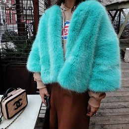 Wholesale Girls Fox Fur Coats - New Color Faux Fur Coat Women 2017 Winter Jackets Shaggy Fluffy Fake Fox Fur Coats Women Outerwear Girls Thicken Warm Overcoats