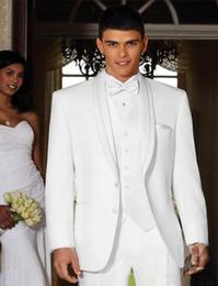 Wholesale mens groom suits - Fashionable Two Button White Groom Tuxedos Groomsmen Shawl Lapel Best Man Blazer Mens Wedding Suits (Jacket+Pants+Vest+Tie) H:783