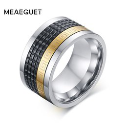 Wholesale rock band set - Meaeguet Rotatable Ring Men Jewelry Stainless Steel Cool Punk Spinner Male Bijoux Band Punk Rock Accessories