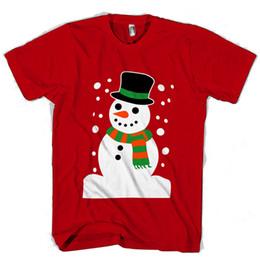 tecido de natal barato Desconto Novidade Natal Xmas Boneco De Neve Homem / Mulher T-Shirt barato por atacado estilo de moda 100% algodão casual malha confortável tecido top qualidade