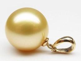 Ciondolo perle d'oro del mare del sud online-Perfect Round 15-16mm South Sea naturale collana di perle d'oro Shell 14K