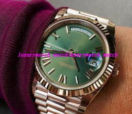 2019 18 relógios de ouro Novo Relógio De Luxo Unisex Mens Relógio Das Mulheres 18 K Rose Gold Dial Verde Safira Cystal Homens Relógios Automáticos Mecânicos relógios de Pulso 18 relógios de ouro barato