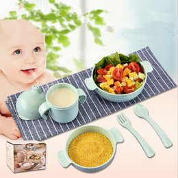 Wholesale dish child - 3 Colors 5pcs set Wheat-straw Tablewear Children Bowl Dishes Baby Feeding Bowls Baby Solid Food Bowl Dinner Food Container CCA9802 10set