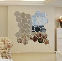 2019 tuiles de son Hexagone Acrylique Miroir Stickers Muraux Amovible 3D Autocollant Étanche Télévision Sticker Mural Chambre Salon Décoration 12 pcs