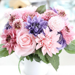 Fiori dahlia di seta online-Fiori artificiali Bouquet 10 Testa Rose Dahlia Autunno Vivid Fake Flower For Wedding Home Party Decorazioni natalizie Fiore di seta