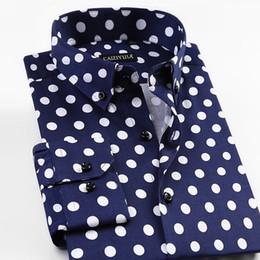 мужская тонкая удобная точечная рубашка Скидка 2018 Fashion New Spring Printed Polka Dot Mens Casual Shirts Long Sleeve 97% Cotton  Quality Slim Fit Non-iron Men Shirts