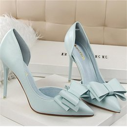 Wholesale Yellow Bowtie - Women Pumps 2018 Fashion Candy Colors High Heels Women Shoes Bowknot Hollow Women Heels Pointed Toes Stiletto 7 Colors Free Shipping