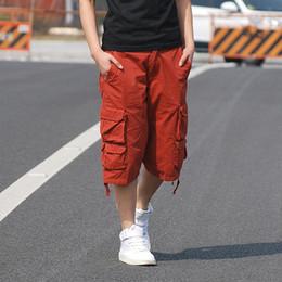 Wholesale Cargo For Mens - Wholesale-Mens Casual Jogger Cargo Pants Solid Cotton Knee Length Loose Comfortable pants Men's Summer Short for Male pantalon hombre