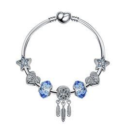 7857e5c8d 18+3CM Charm Beads Bracelets Pandora Style Bracelet Dream Catcher Pendant  925 Silver Bangle blue star DIY Jewelry Accessories Wedding gift