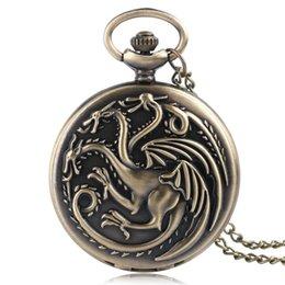 Wholesale Birthday Gift Watches For Women - Bronze Game of Thrones House Targaryen Quartz Pocket Watch Cool Dragion Men Women Pendant Necklace Retro Clcok Birthday Gift for Children