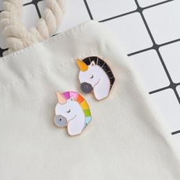 Wholesale Unicorn Brooch - 2pcs set Colorful Unicorn Pin Cartoon Enamel Animal Brooch Buckle Pins Bag Denim Jacket Badge Jewelry Gift for Kids Girl Boy