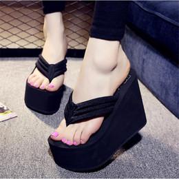 Flip-flip rosa da plataforma on-line-Hot Sale Soild Plataforma Wedge Flip Flops Sapatos de Mulher 2018 Mulheres Sapatos De Salto Alto Sandálias De Praia Das Senhoras Grossas de Alta Pantufas