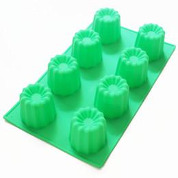 Bolos grandes do copo on-line-Bandeja do molde do cozimento do bolo de Bordelais do molde de silicone de 8 copos grande de Caneles