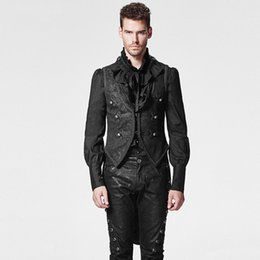 Wholesale Tailed Jacket - Black Gothic Swallow Tail Man Vest with Pressed Flower Steampunk Sleeveless Detachable Jacket Waistcoats
