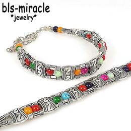 armbänder mode geschäfte Rabatt Bls-Wunder Weinlese-neues Art- und Weisezusatz-Mischungs-Farben-Speicher-tibetanisches silbernes Armband für Frauen BA-190