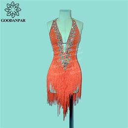 Rumba ropa online-GOODANPAR sin mangas con flecos estándar vestido de baile latino de las mujeres traje de Flapper Salsa Samba Rumba Ropa de la competencia
