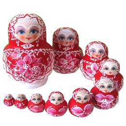 Wholesale wholesale nest - Matryoshka Russian Doll Wooden Nesting Dolls Hand Printed Set Baby Toy Home Decoration Birthday Gifts
