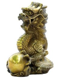 Китайский дракон год онлайн-Народный Китай Китайский чистой латуни Фэн-Шуй Зодиака год шпагат летать Дракон мяч статуя