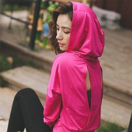 Wholesale Longsleeve Woman - Ayopanda Dark Grey Loose Women Fitness Yoga Shirt Hot Pink Cropped Hoodies Longsleeve Sport Jerseys Open Back Female Yoga Top