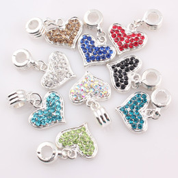Wholesale Pave Heart Pendants - DIY Pave Crystal Heart Charms Rhinestone Love Heart Pendant fit for necklace bracelet making Jewelry Findings C4