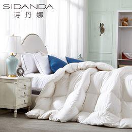 шелковый одеяло король Скидка SIDANDA Hot  Down Duvet Comforter Cotton Fabric Quilt Spring Autumn Bedding Feather Comforter White King Size Silk Blanket