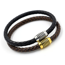Wholesale Rainbow Cuff - Mens Titanium steel Genuine Leather Braided Bracelets For Men Women Cuff Charm Bangle Fashion Rainbow Magnetic buckle Bracelets 22cm long
