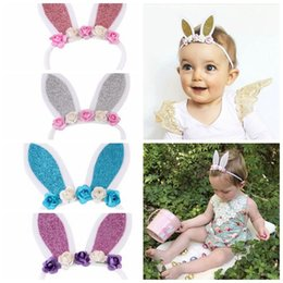 Wholesale hairbow flowers - Baby Girls Easter Ears Headband Flowers Fashion Rabbit Ear Baby Hairbow Flower Elastic Hair Bands Girls Bunny Nylon Headbands KKA4191