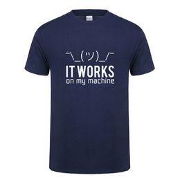 2019 máquinas de computación Regalos de cumpleaños divertidos para Huaband Boyfriend Men Funciona en mi máquina Algodón de manga corta Programador informático Camiseta Camiseta máquinas de computación baratos