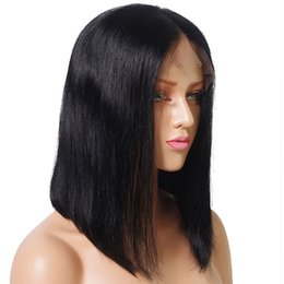hair dye hairstyles Promo Codes - Pre Plucked Human Hair Short Bob Wigs For Black Women Brazilian Virgin Hair Lace Front Human Hair Wigs Natural Color Can Be Dyed