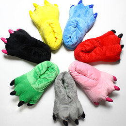 Когтеобразные тапочки онлайн-Бесплатная доставка коготь обувь мужчины и женщины мультфильм коралловые бархатные динозавров животных плюшевые домашняя обувь модели взрыва стежка зимние тапочки
