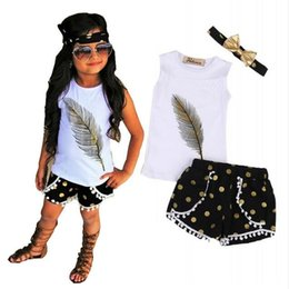 1a3372c494649 3 Pcs Little Girls Summer Feather Clothing Set Kids Girl Outfits Sleeveless  Vest Tops+Tassels Shorts Bottom+Headband Clothes GA255