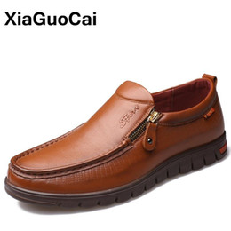 Wholesale Boat Shoes Business Casual - XiaGuoCai High Quality 100% Genuine Leather Men's Casual Shoes Breathable Comfortable Slip-On Business Men Boat Shoes X204