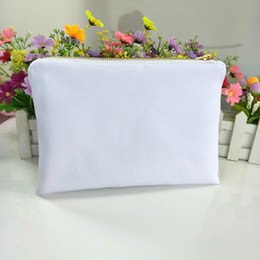 transfer bags Promo Codes - 30pcs lot white poly canvas makeup bag for sublimation print with white lining white-gold zip blank cosmetic bag for heat transfer print
