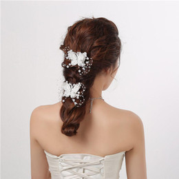 Wholesale butterfly crystal hair clip - Crystal Beads Wedding Bridal Jewelry Headdress Butterfly Hair Clips Hair Pin Handmade Pearl