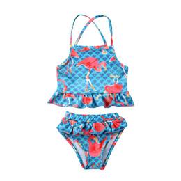 bff8343d9897a 2018 Hot Sale Toddler Kids Swimsuit Cute Flamingo Floral Two-piece Bathing  Suit Baby Girl Tankini Bikini Swimwear