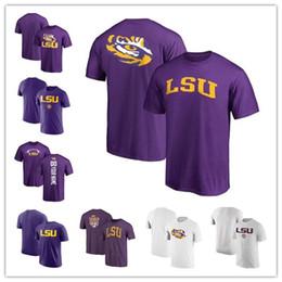 Logotipo personalizado on-line-Mens LSU Tigres Fanáticos de Futebol Da Lenda Da Marca Personalizado Logotipo Da Escola Desempenho T-Shirt roxo tamanho branco S-XXXL frete grátis
